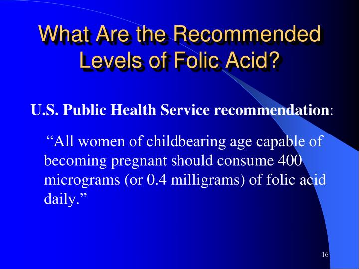 What Are the Recommended Levels of Folic Acid?