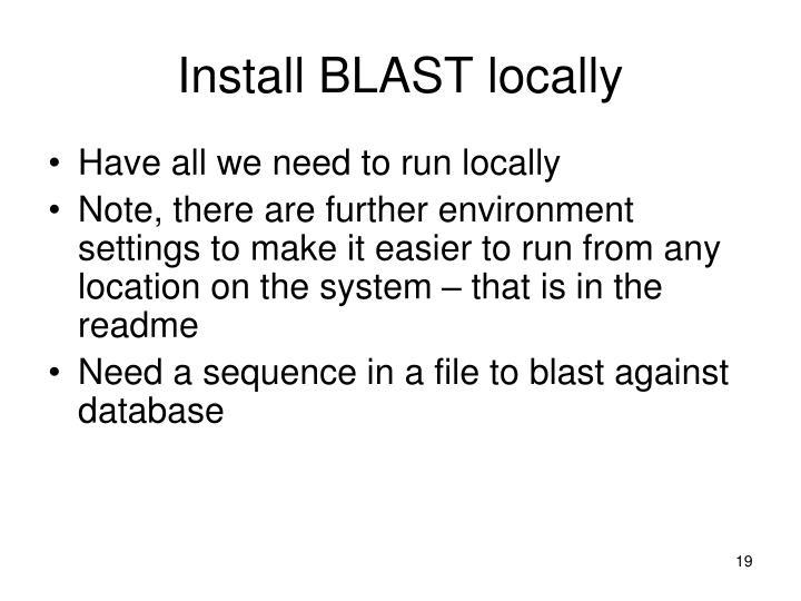Install BLAST locally
