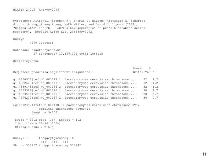 BLASTN 2.2.6 [Apr-09-2003]