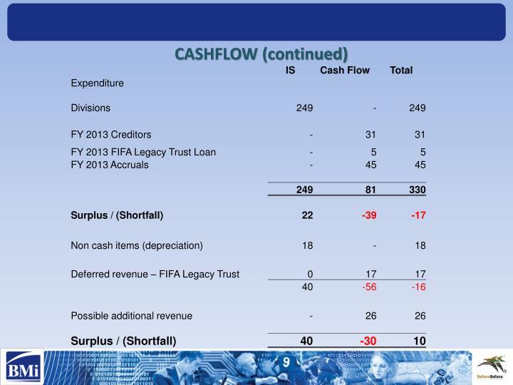 CASHFLOW (continued)