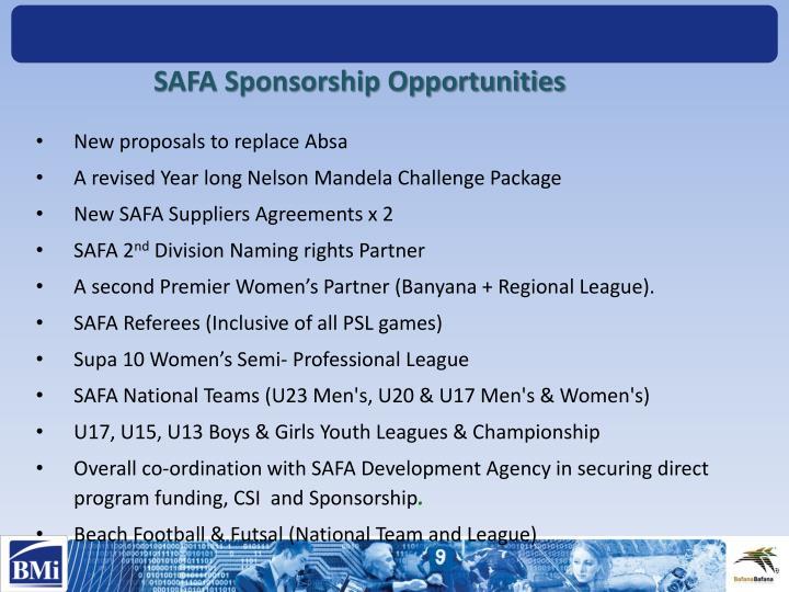 SAFA Sponsorship Opportunities