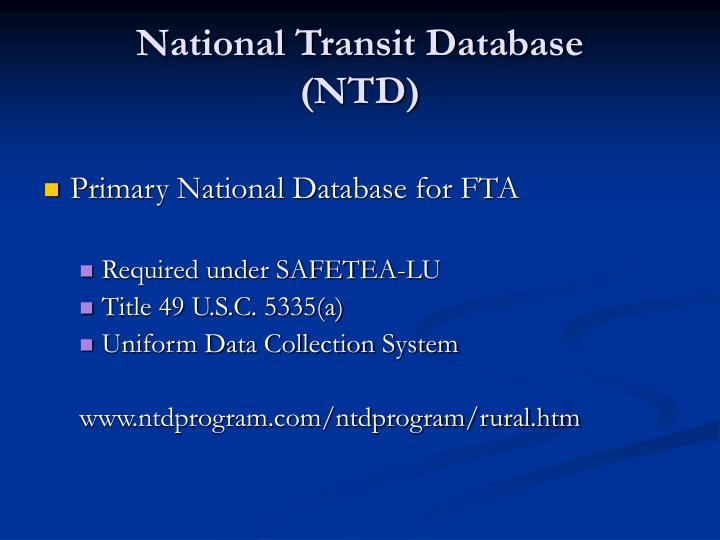 National transit database ntd