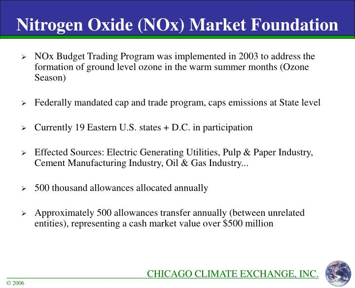 NOx Budget Trading Program was implemented in 2003 to address the formation of ground level ozone in the warm summer months (Ozone Season)