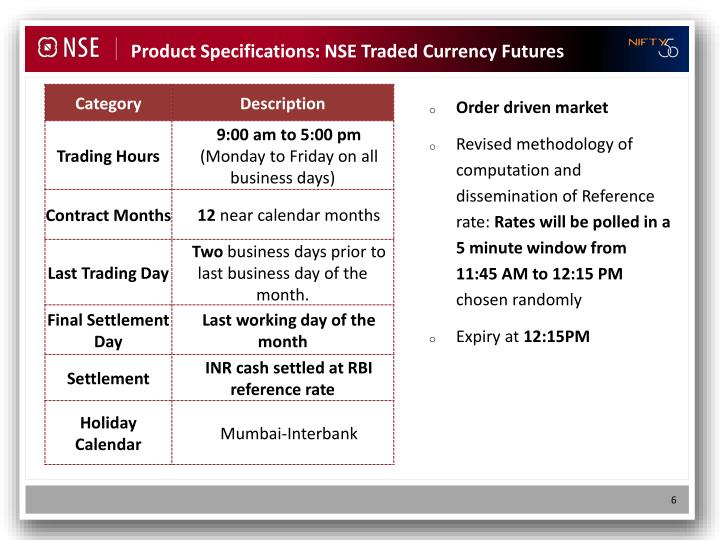 Product Specifications: NSE Traded Currency Futures