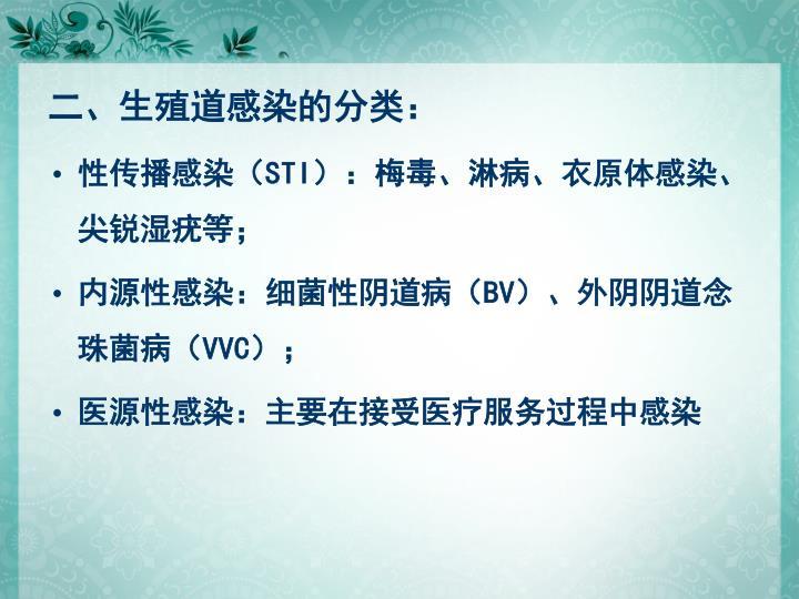 二、生殖道感染的分类: