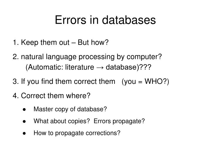 Errors in databases