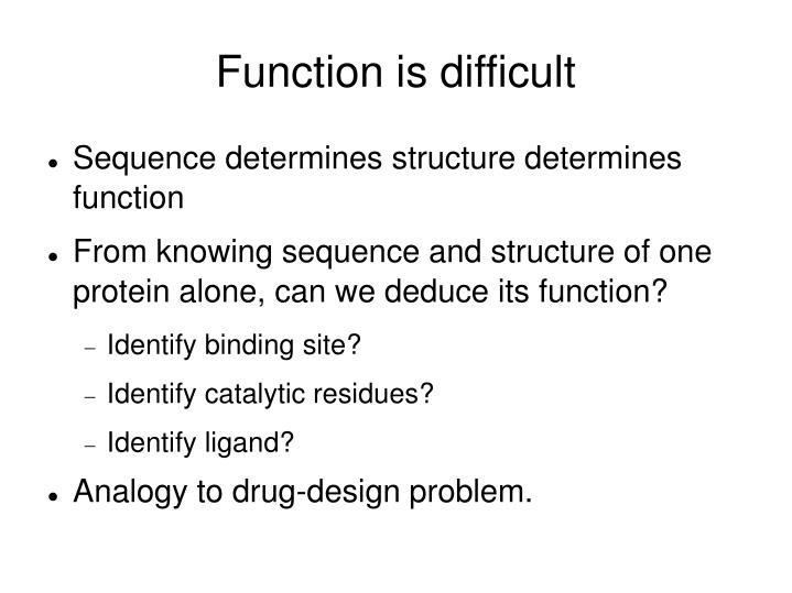 Function is difficult