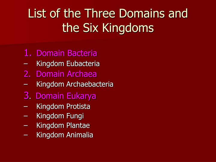 List of the Three Domains and