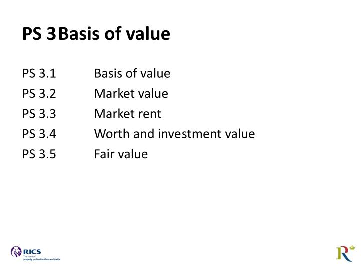 PS 3Basis of value
