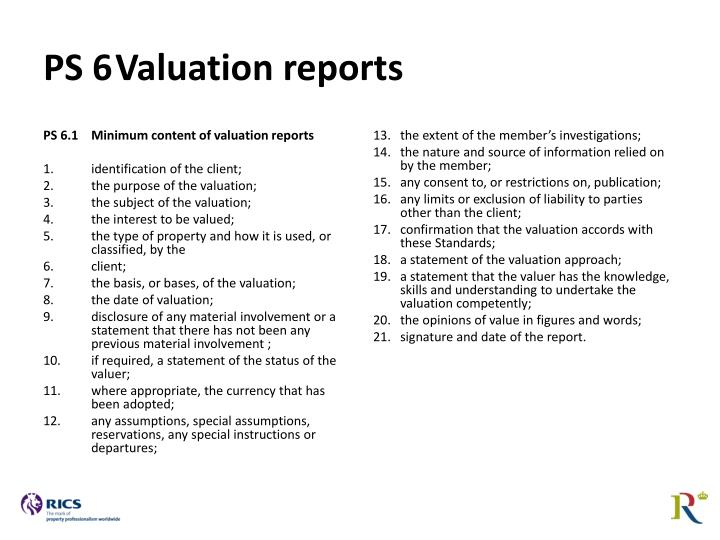 PS 6.1Minimum content of valuation reports