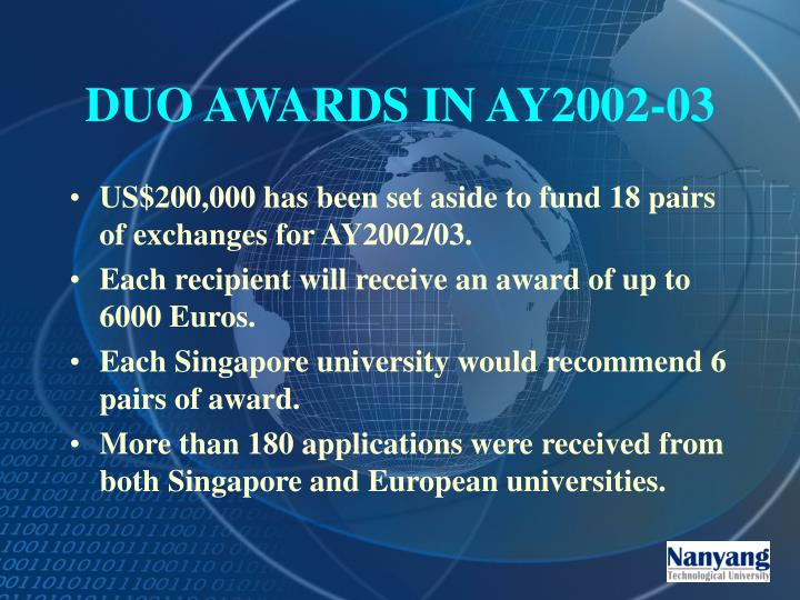 DUO AWARDS IN AY2002-03