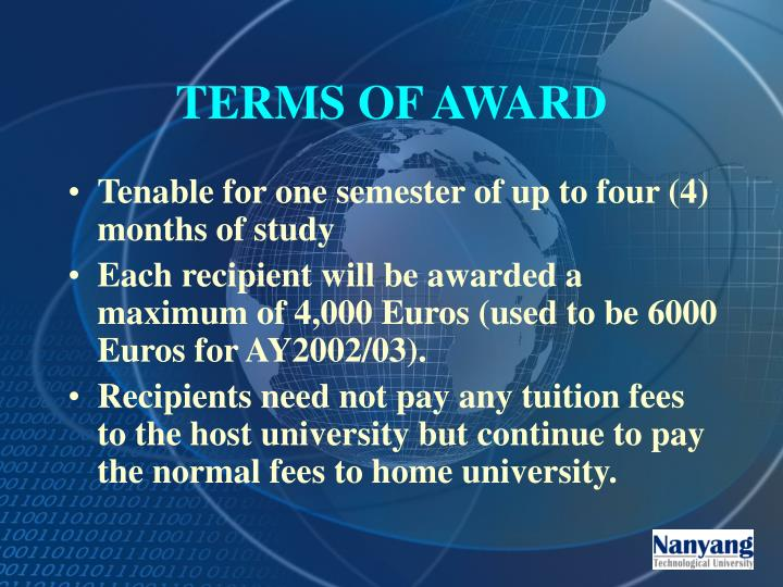 TERMS OF AWARD