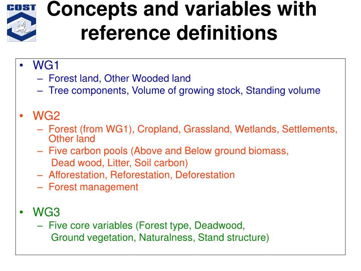 Concepts and variables with reference definitions