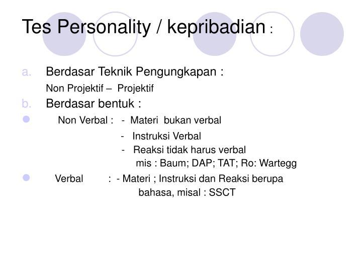 Tes Personality / kepribadian