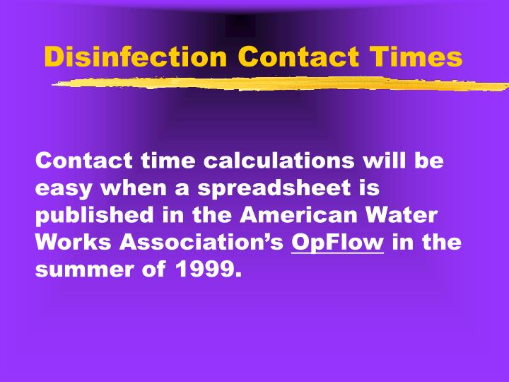 Disinfection Contact Times