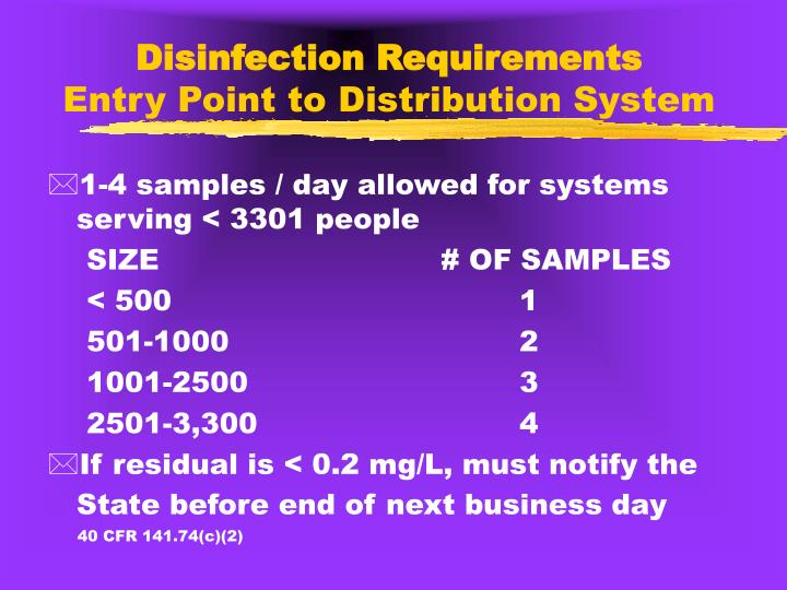 Disinfection Requirements