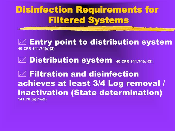 Disinfection Requirements for