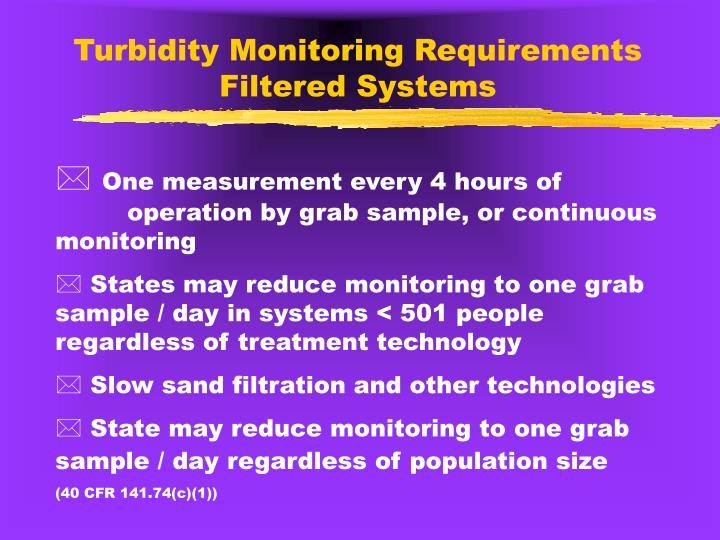 Turbidity Monitoring Requirements