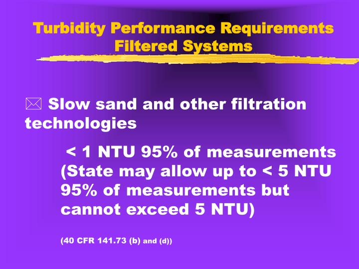 Turbidity Performance Requirements