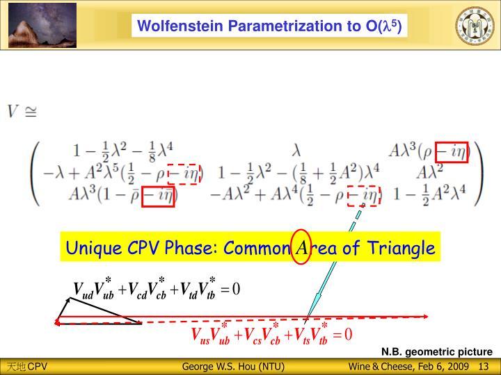 Wolfenstein Parametrization to O(