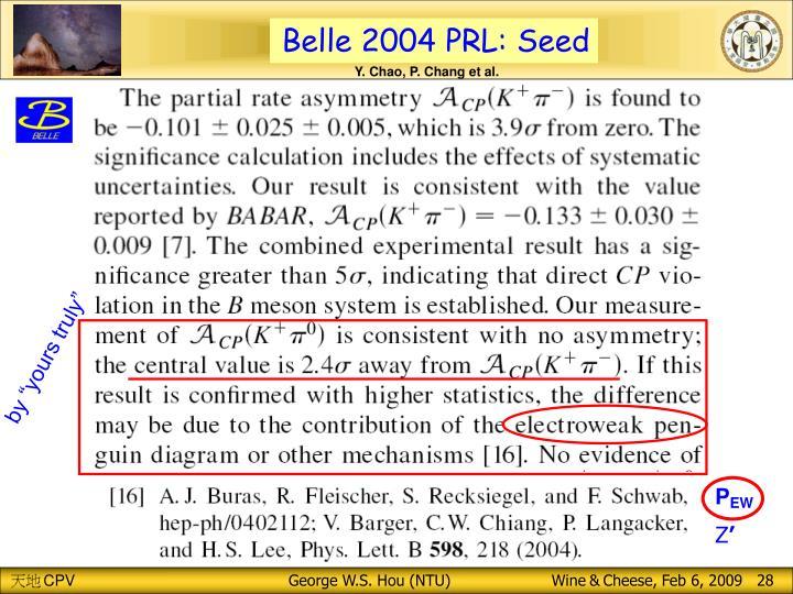 Belle 2004 PRL: Seed