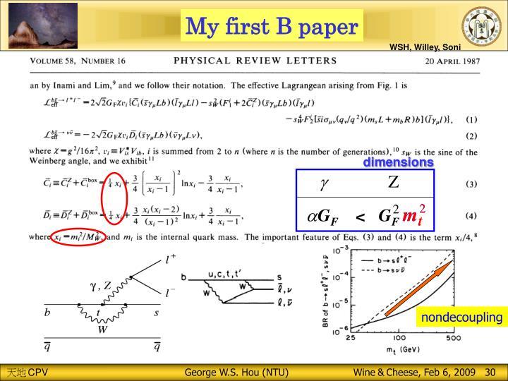 My first B paper