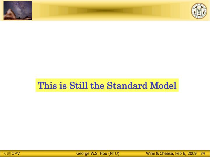 This is Still the Standard Model