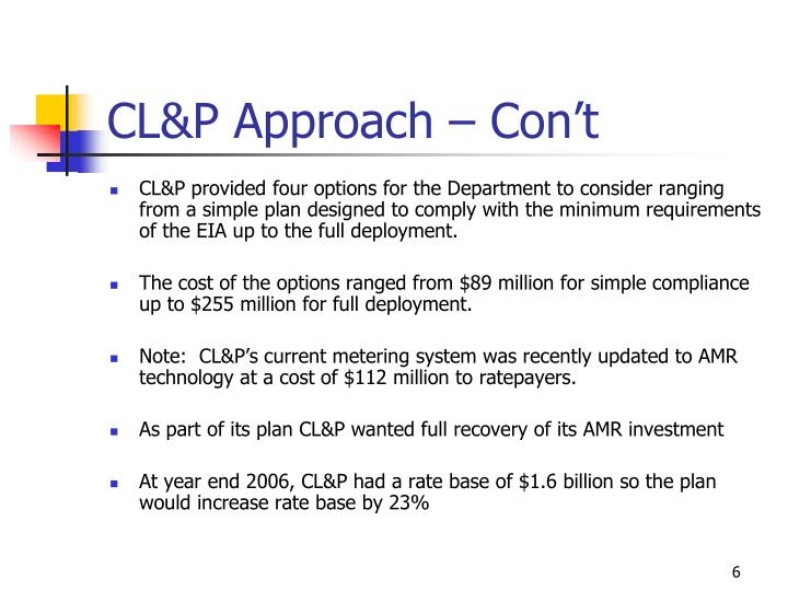 CL&P Approach – Con't