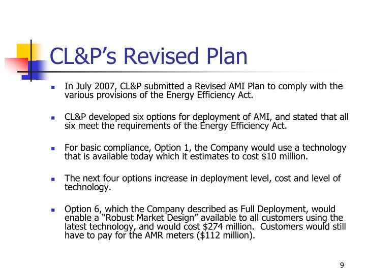 CL&P's Revised Plan