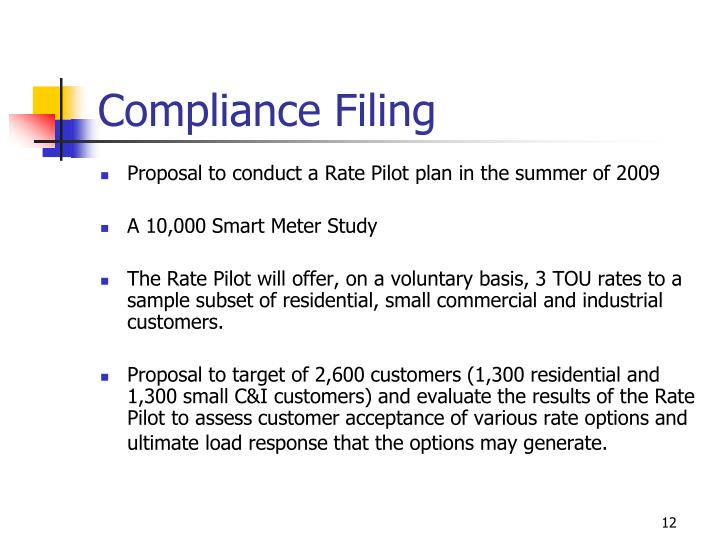 Compliance Filing