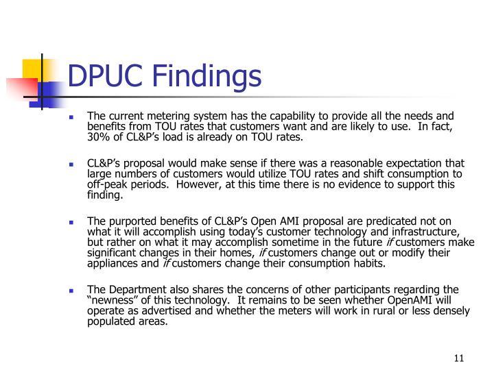 DPUC Findings