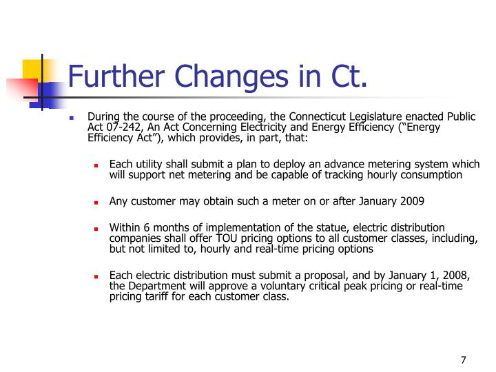 Further Changes in Ct.