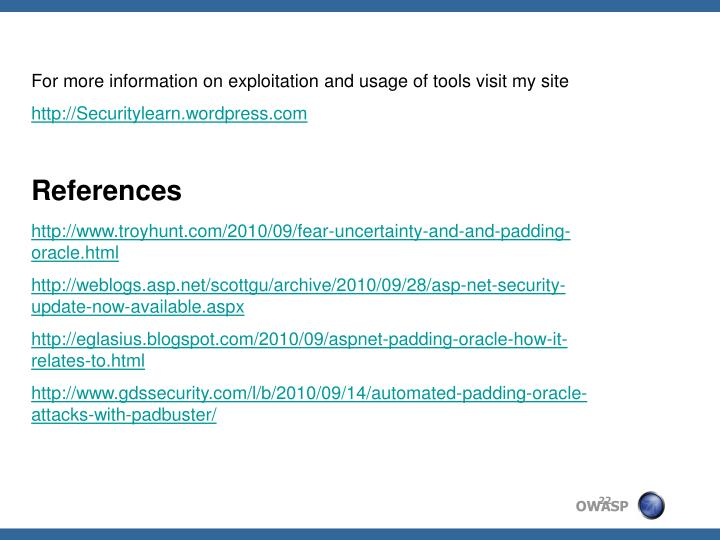 For more information on exploitation and usage of tools visit my site