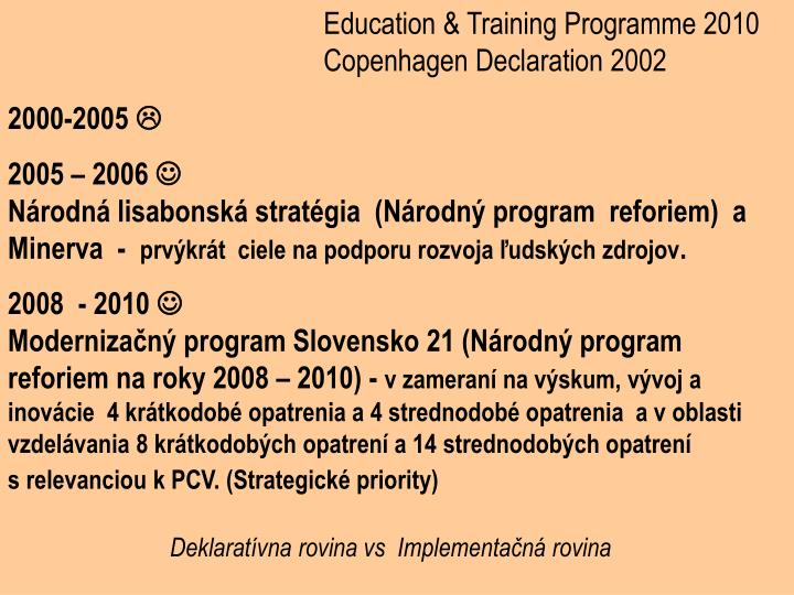 Education & Training Programme 2010