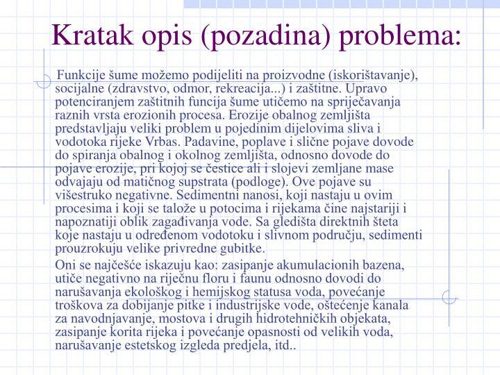 Kratak opis (pozadina) problema