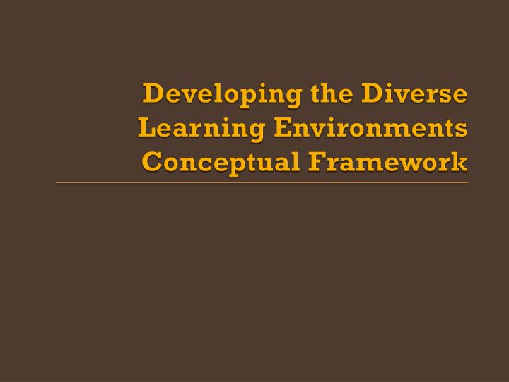 Developing the Diverse Learning Environments Conceptual Framework