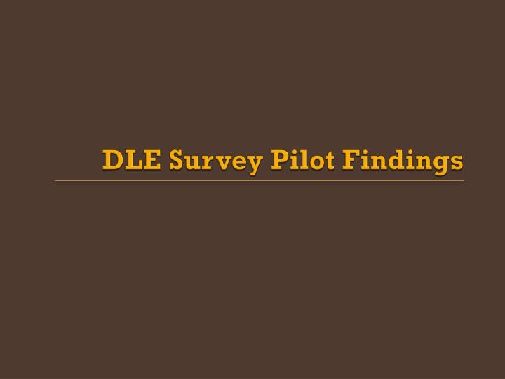 DLE Survey Pilot Findings