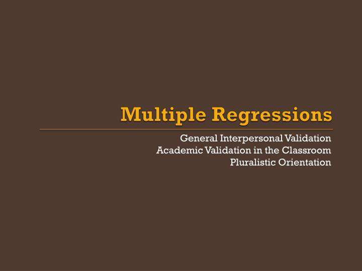 Multiple Regressions