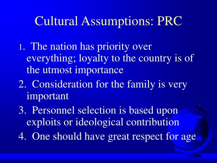 Cultural Assumptions: PRC