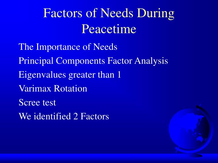 Factors of Needs During Peacetime
