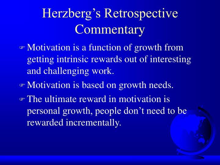 Herzberg's Retrospective Commentary