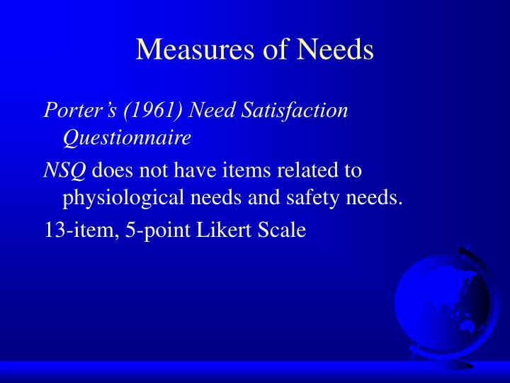 Measures of Needs