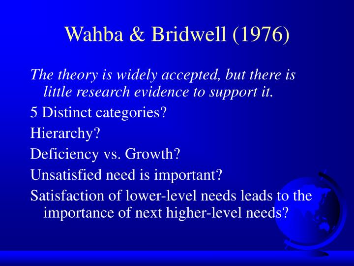 Wahba & Bridwell (1976)