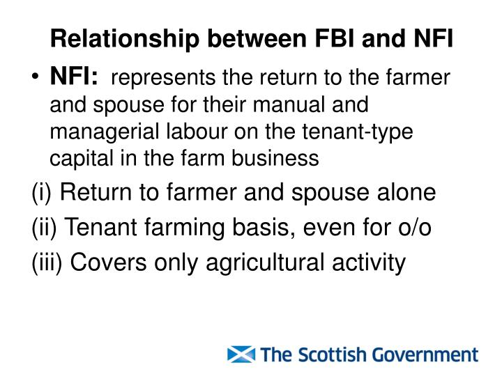 Relationship between FBI and NFI