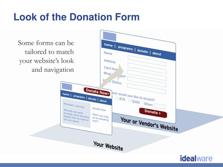 Look of the Donation Form