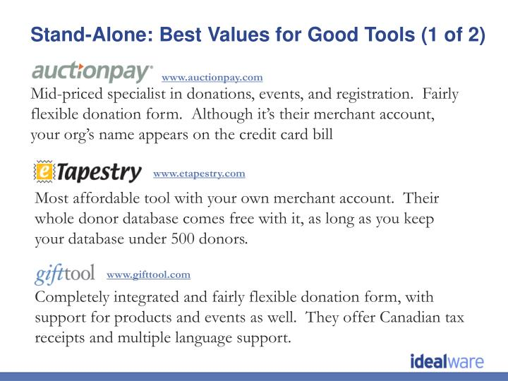 Stand-Alone: Best Values for Good Tools (1 of 2)