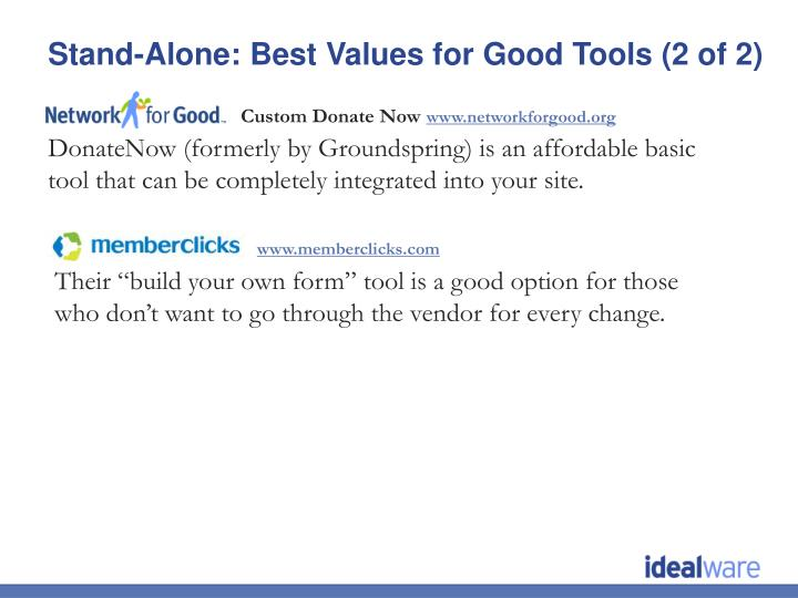Stand-Alone: Best Values for Good Tools (2 of 2)