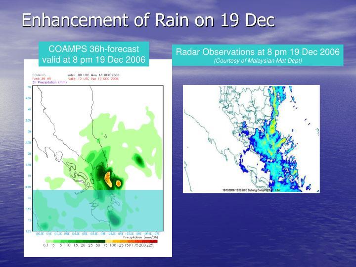 Enhancement of Rain on 19 Dec