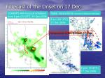 forecast of the onset on 17 dec