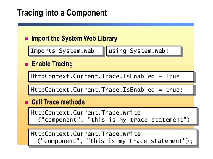 Tracing into a Component